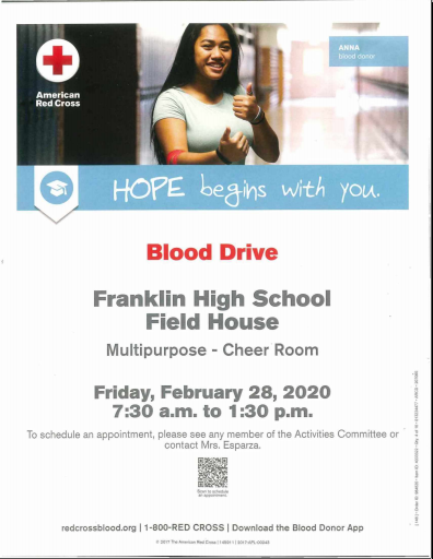 Blood Drive Flyer. February 28th