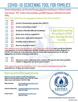 Daily Student Health Screening Checklist